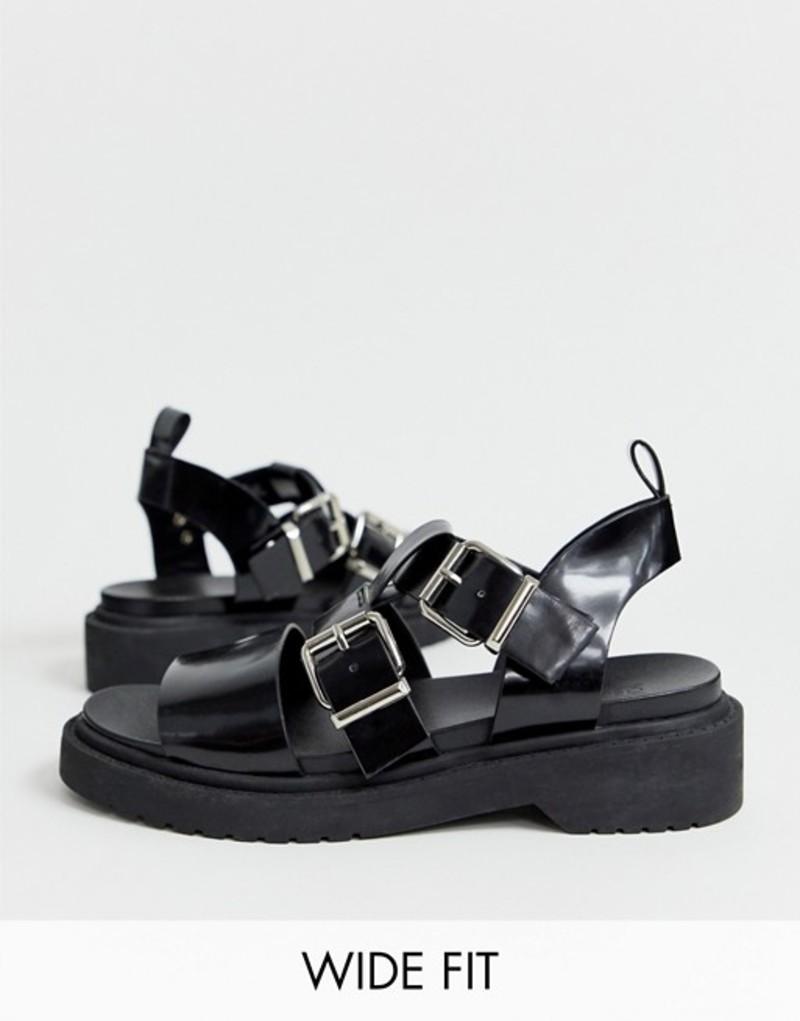 エイソス レディース サンダル シューズ ASOS DESIGN Wide Fit Fate chunky flat sandals Black