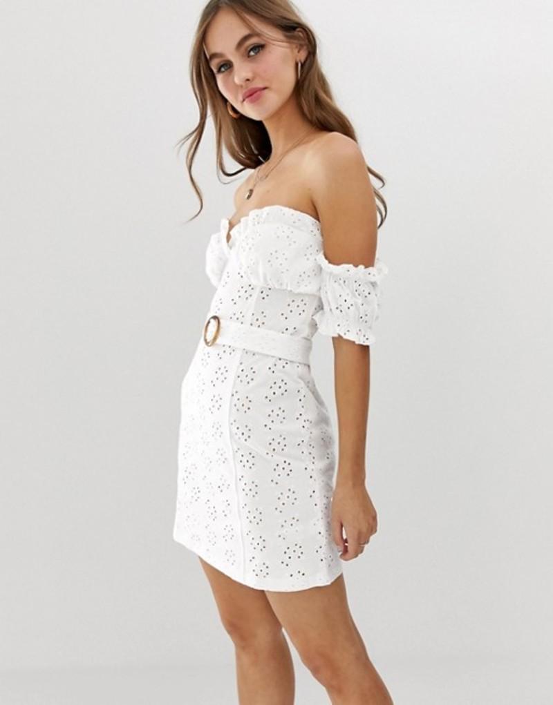 エイソス レディース ワンピース トップス ASOS DESIGN bardot mini broderie sundress with faux tortoiseshell belt White