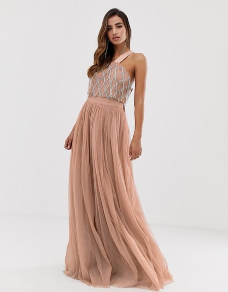エイソス レディース ワンピース トップス ASOS DESIGN embellished top halter tulle maxi dress Pink