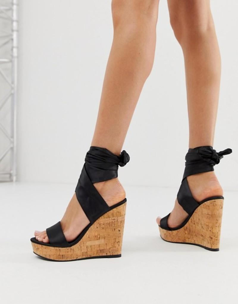 エイソス レディース サンダル シューズ ASOS DESIGN Twist tie leg cork wedges Black