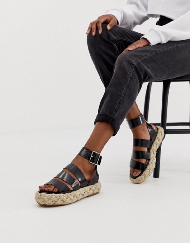 エイソス レディース サンダル シューズ ASOS DESIGN Jao chunky espadrille sandals Black