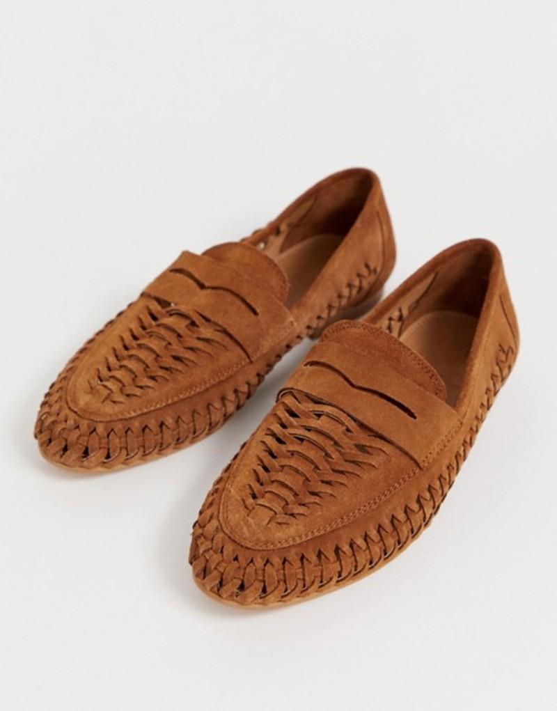 エイソス レディース パンプス シューズ ASOS DESIGN Mellow leather weave loafer in natural Tan