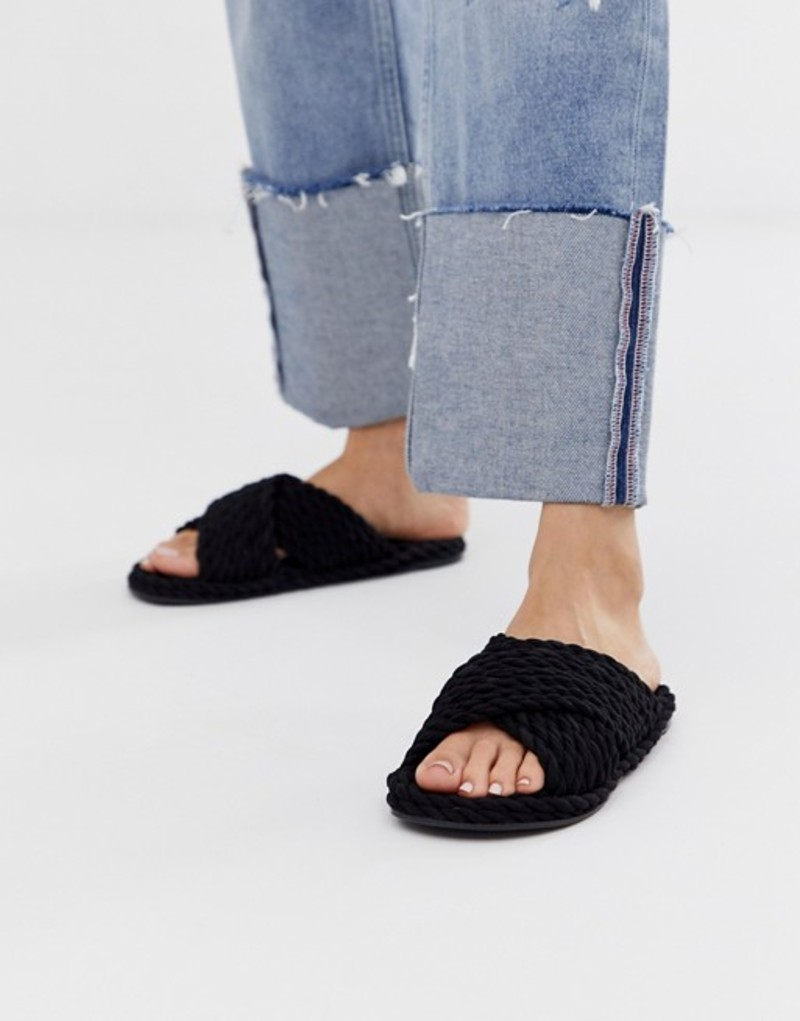 エイソス レディース サンダル シューズ ASOS DESIGN Fin premium cross strap rope sliders in black Black