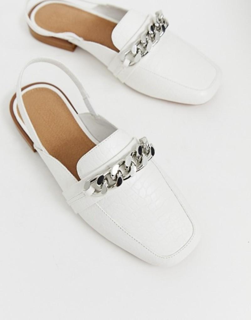 エイソス レディース パンプス シューズ ASOS DESIGN Made chain detail square toe loafers in white croc White croc