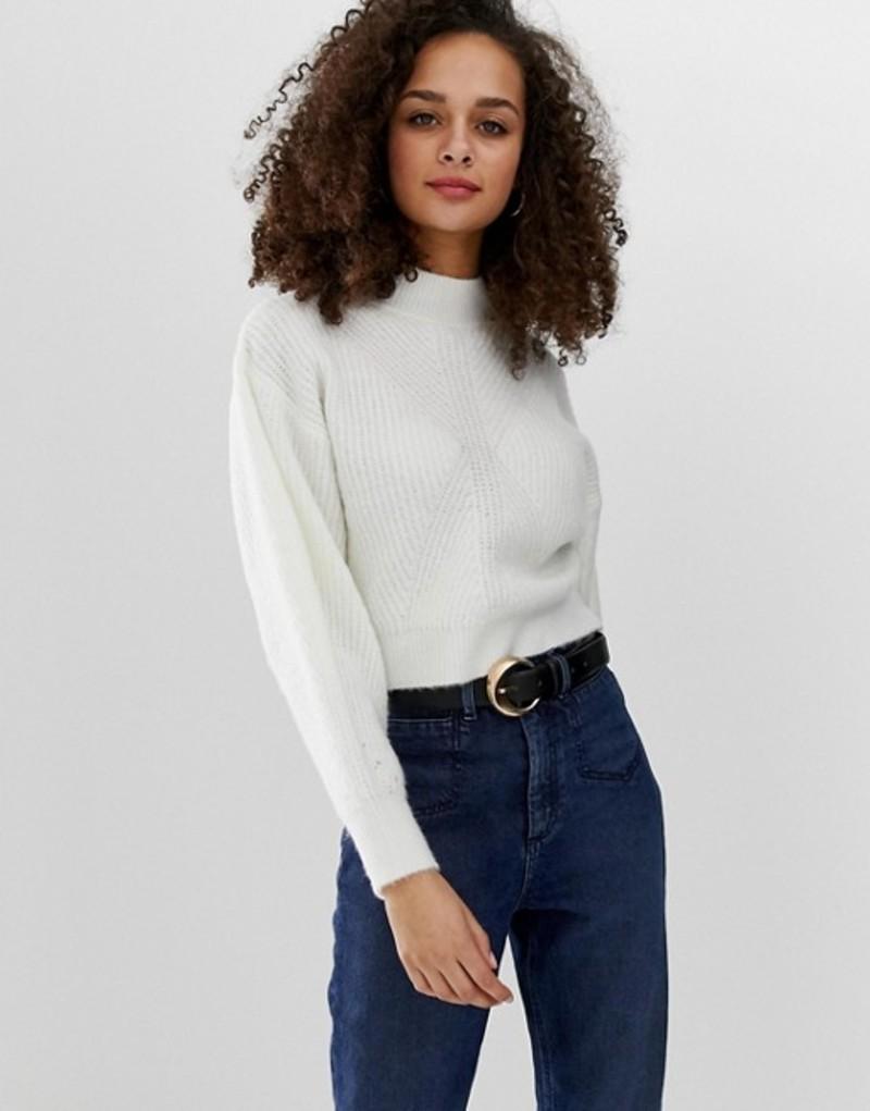 エイソス レディース ニット・セーター アウター ASOS DESIGN chunky sweater with stitch detail and balloon sleeve Cream
