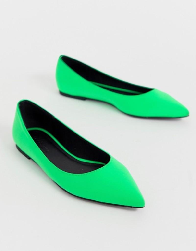 エイソス レディース パンプス シューズ ASOS DESIGN Latch pointed ballet flats in neon green Neon green