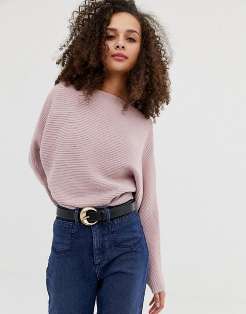 エイソス レディース ニット・セーター アウター ASOS DESIGN off shoulder sweater in ripple stitch Blush