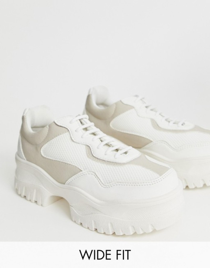 エイソス レディース スニーカー シューズ ASOS DESIGN Wide Fit Dart chunky sneakers in white Off white