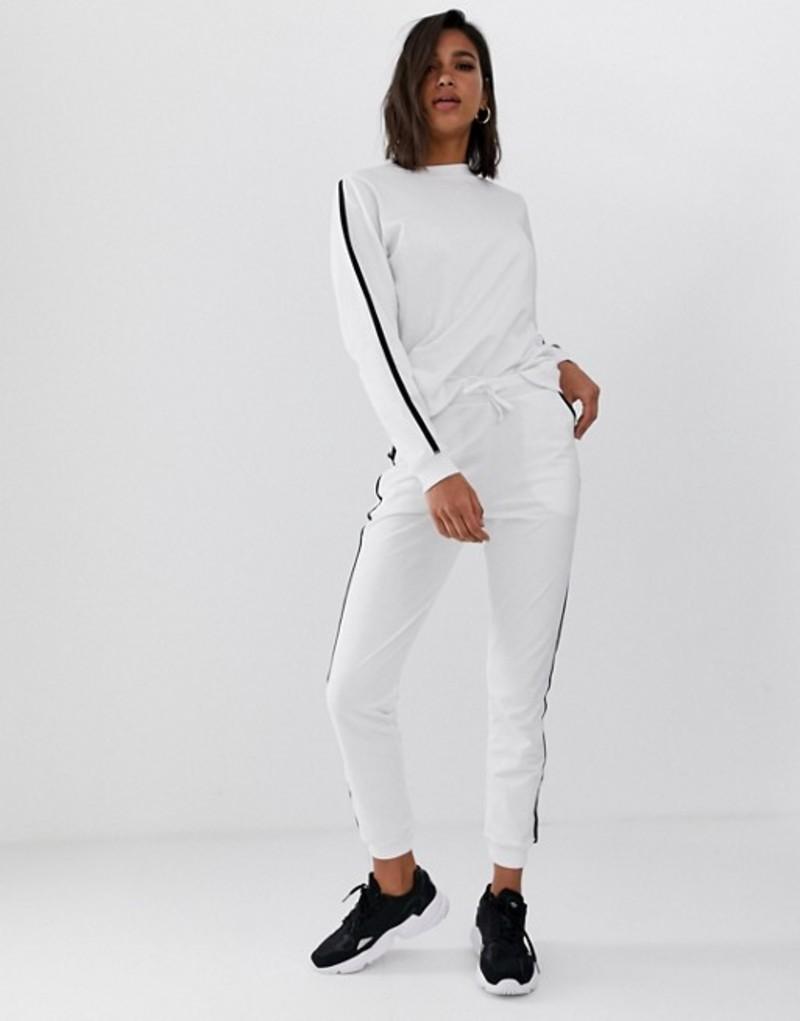 エイソス レディース パーカー・スウェット アウター ASOS DESIGN tracksuit cute sweat / basic jogger with tie with contrast binding White