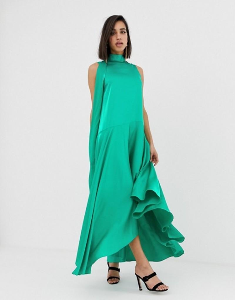 エイソス レディース ワンピース トップス ASOS DESIGN sleeveless scarf neck satin midi dress with extreme sleeve Emerald green