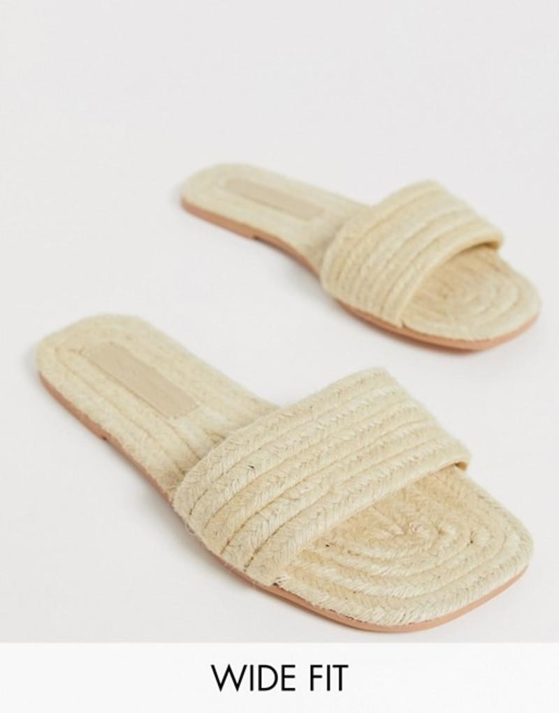 エイソス レディース サンダル シューズ ASOS DESIGN Wide Fit Jayme espadrille sandals Natural