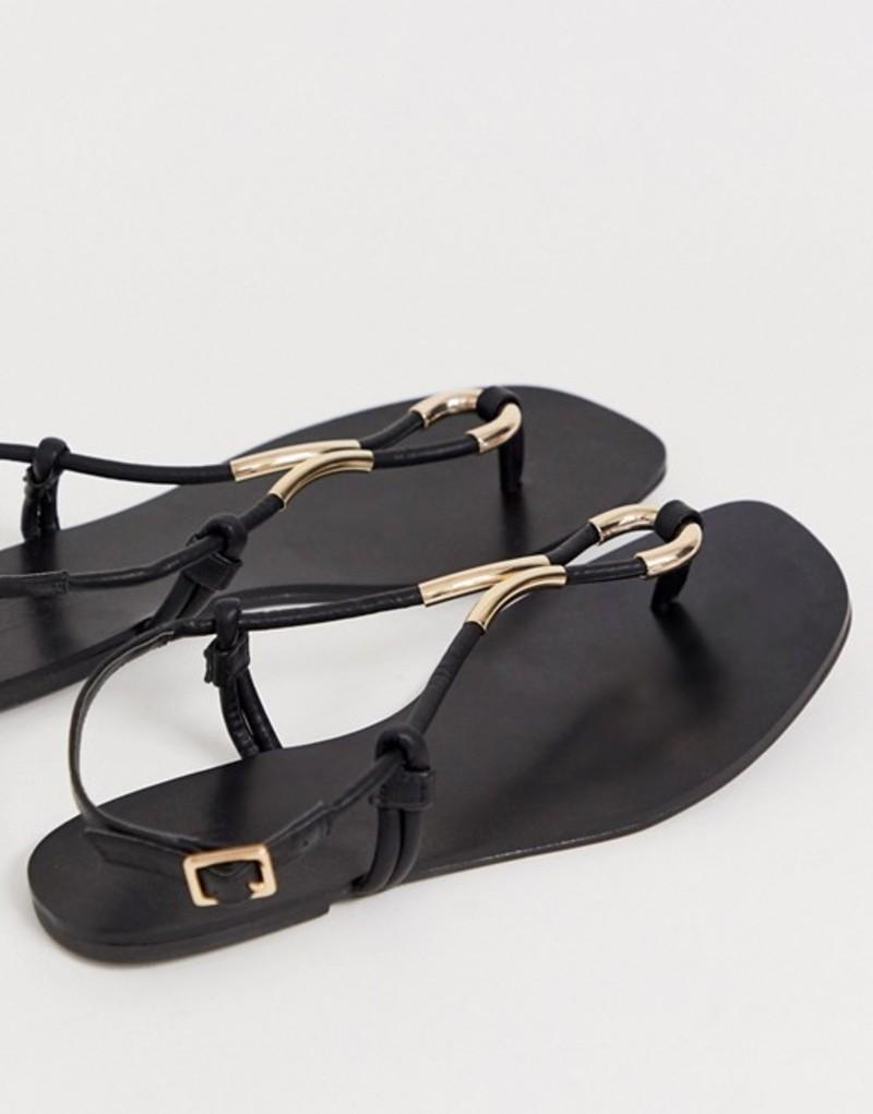 エイソス レディース サンダル シューズ ASOS DESIGN Falsify flat sandals Black