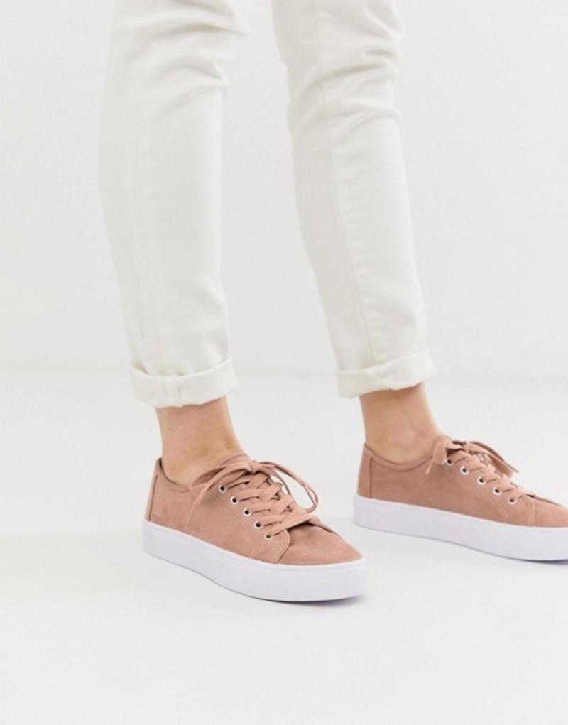 エイソス レディース スニーカー シューズ ASOS DESIGN Dusty lace up sneakers Warm beige