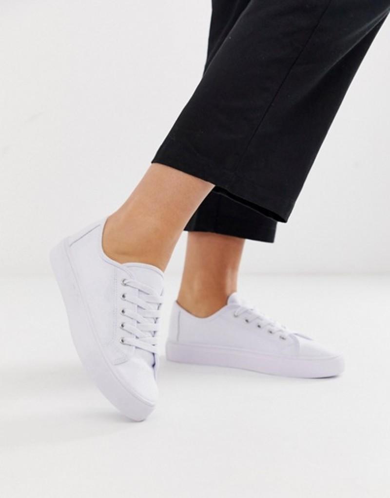 エイソス レディース スニーカー シューズ ASOS DESIGN Dusty lace up sneakers White