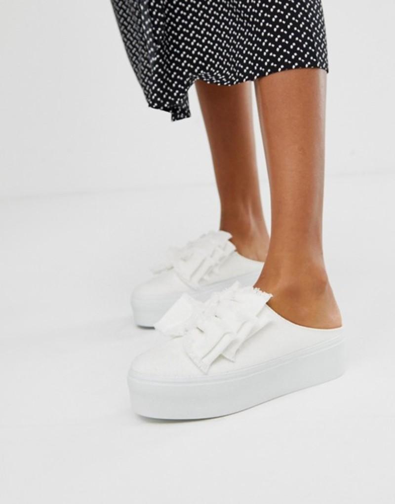 エイソス レディース スニーカー シューズ ASOS DESIGN Durham bow mule sneakers White