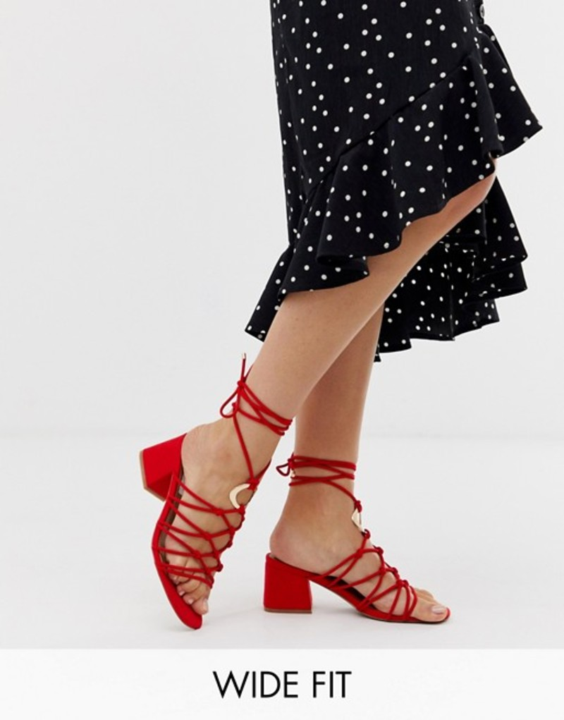 エイソス レディース サンダル シューズ ASOS DESIGN Wide Fit Harvey knotted ring detail block heeled sandals Red