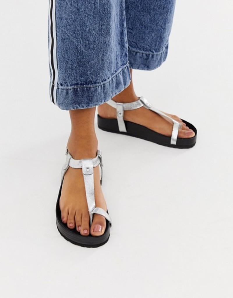 エイソス レディース サンダル シューズ ASOS DESIGN Filmore premium minimal footbed toe loop sandals Silver