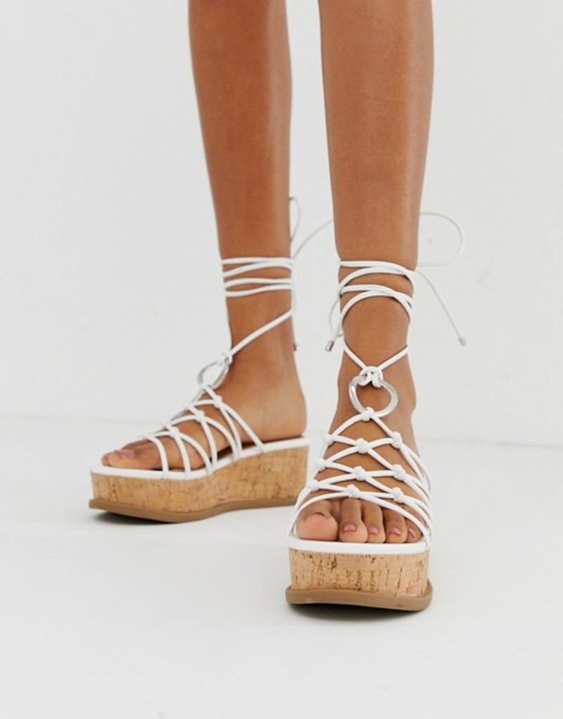 エイソス レディース サンダル シューズ ASOS DESIGN Twine spaghetti tie leg flatforms White