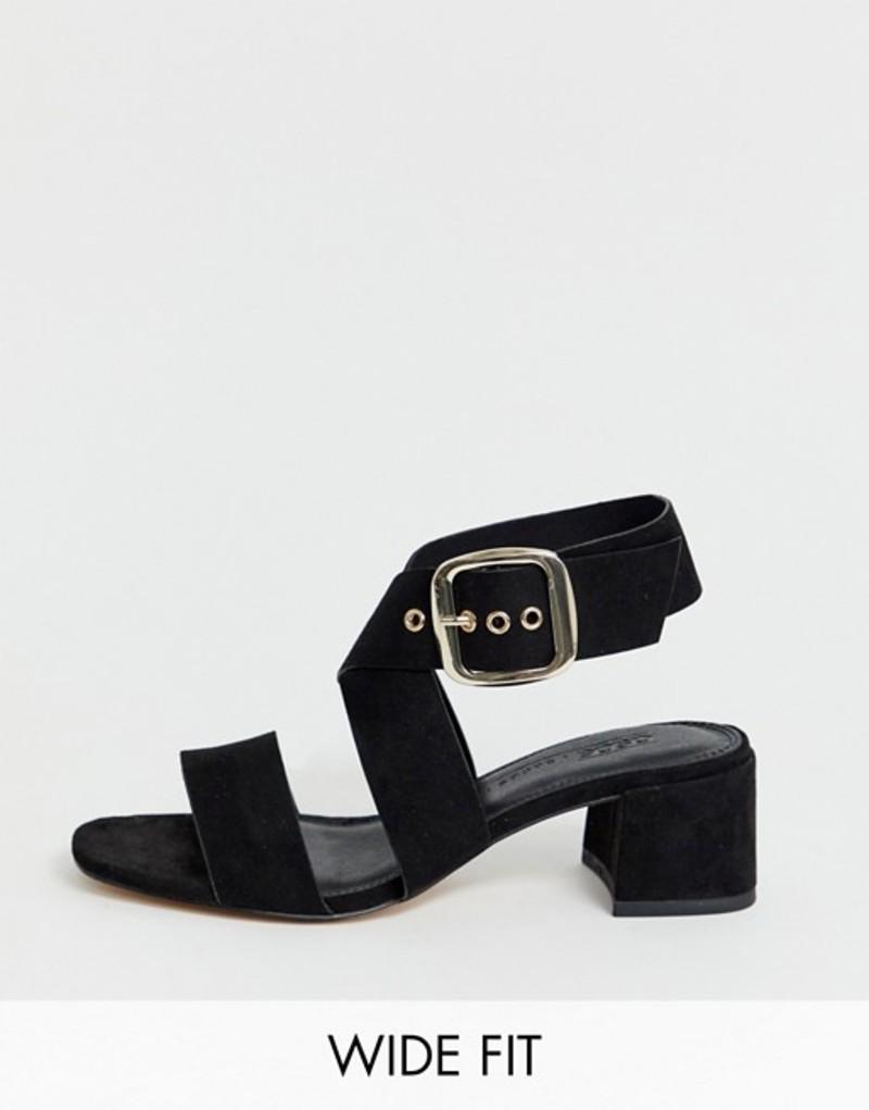 エイソス レディース サンダル シューズ ASOS DESIGN Wide Fit Hip Hop block heeled sandals in black Black