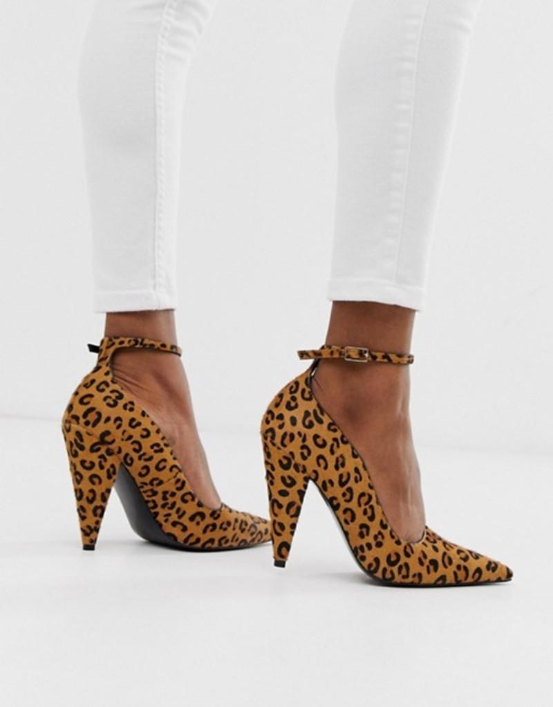 エイソス レディース ヒール シューズ ASOS DESIGN Producer premium leather high heeled pumps in leopard Leopard pony