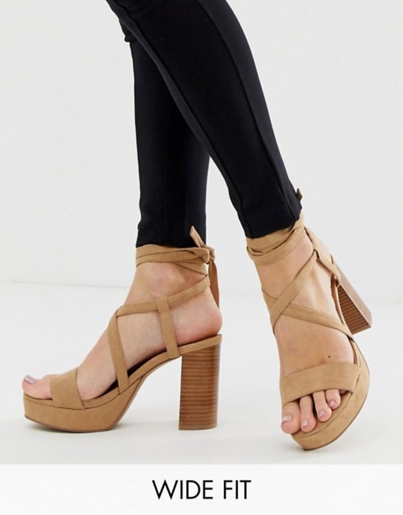 エイソス レディース サンダル シューズ ASOS DESIGN Wide Fit Walker platform block heeled sandals Caramel
