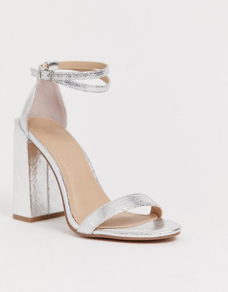 エイソス レディース サンダル シューズ ASOS DESIGN Highlight barely there heeled sandals Silver
