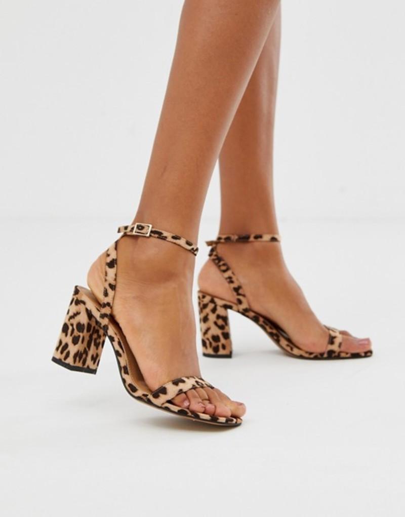 エイソス レディース サンダル シューズ ASOS DESIGN Hong Kong barely there block heeled sandals in leopard Leopard