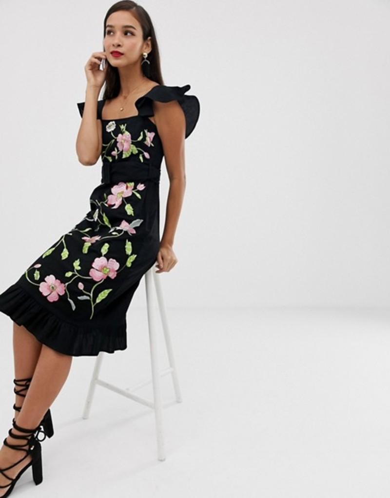 エイソス レディース ワンピース トップス ASOS DESIGN square neck midi dress with floral embroidery Black