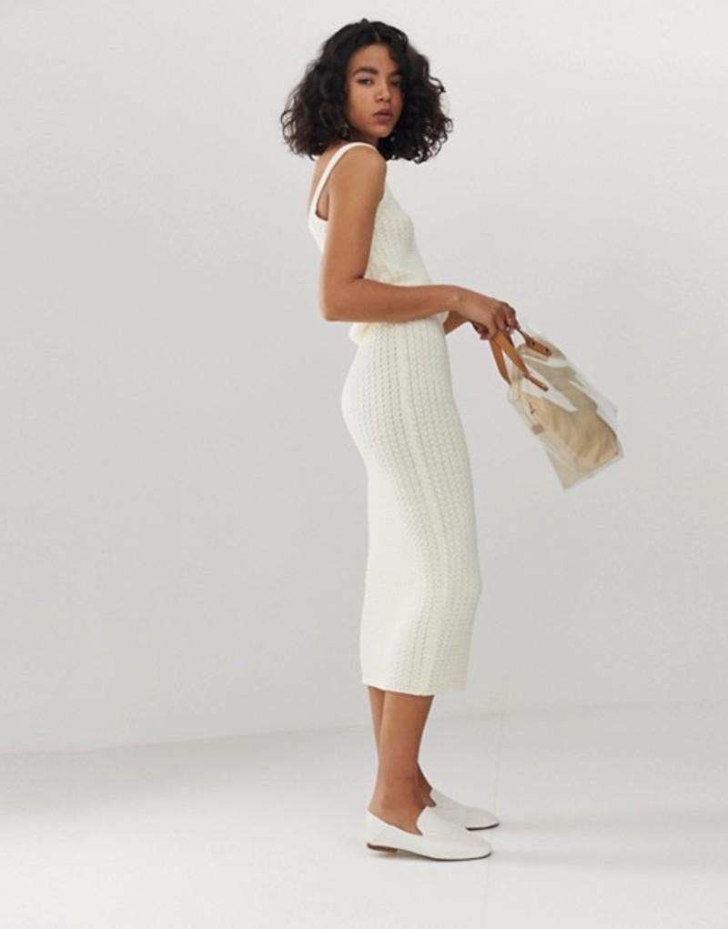 エイソス レディース ニット・セーター アウター ASOS DESIGN two-piece textured knit midi skirt Cream