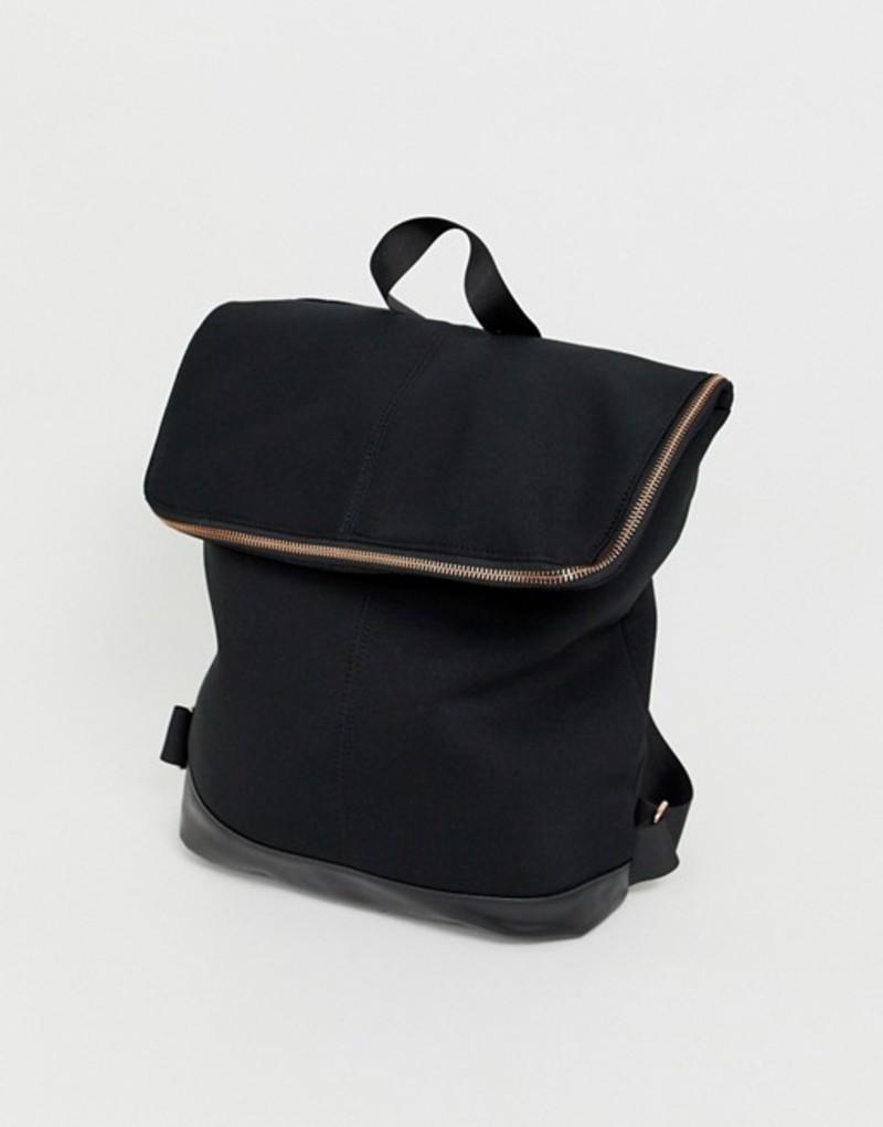エイソス レディース バックパック・リュックサック バッグ ASOS DESIGN foldover backpack Black