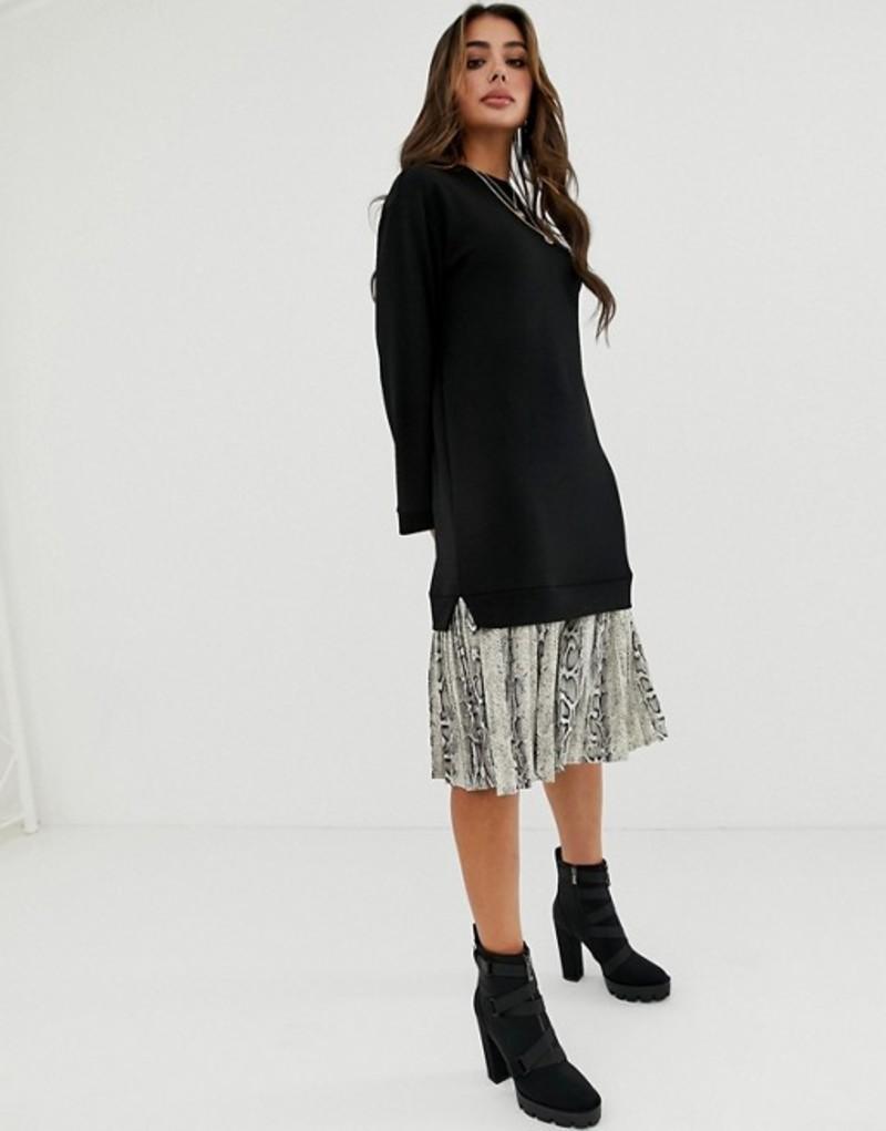 エイソス レディース ワンピース トップス ASOS DESIGN midi 2 in 1 sweat dress with pleated snake print hem Black