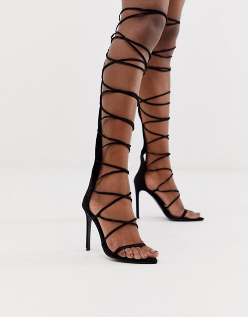 エイソス レディース ヒール シューズ ASOS DESIGN Harsh knee high gladiator heeled sandals in black Black