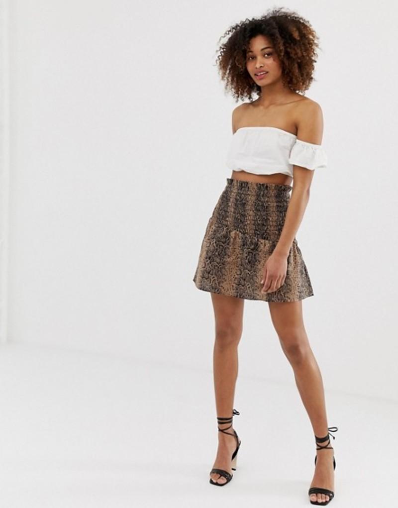 エイソス レディース スカート ボトムス ASOS DESIGN shirred mini skirt in snake print Leopard print