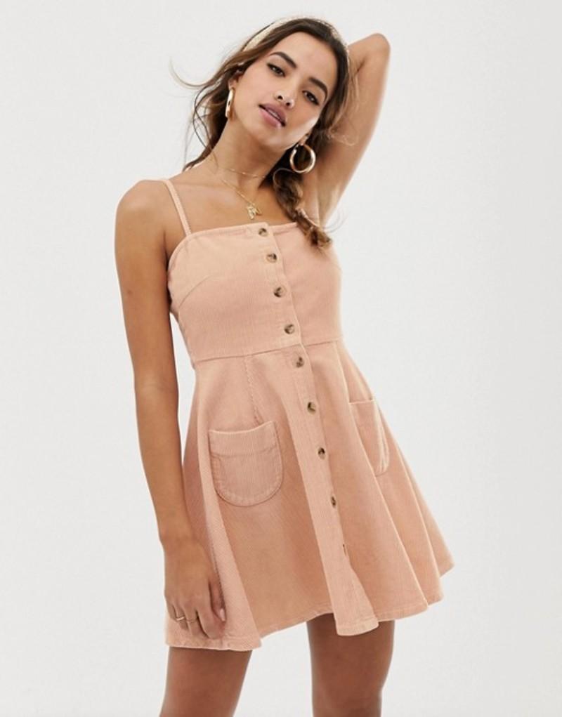エイソス レディース ワンピース トップス ASOS DESIGN cord button through mini skater dress in blush pink Blush