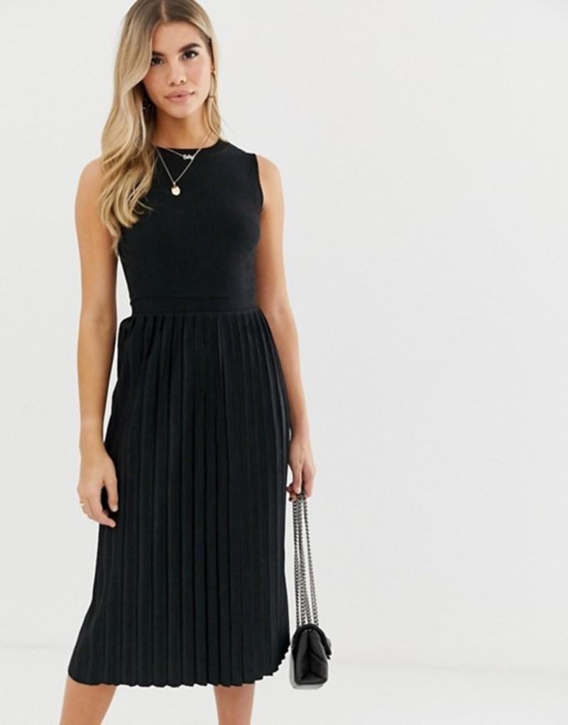 エイソス レディース ワンピース トップス ASOS DESIGN textured midi dress with pleated skirt Black