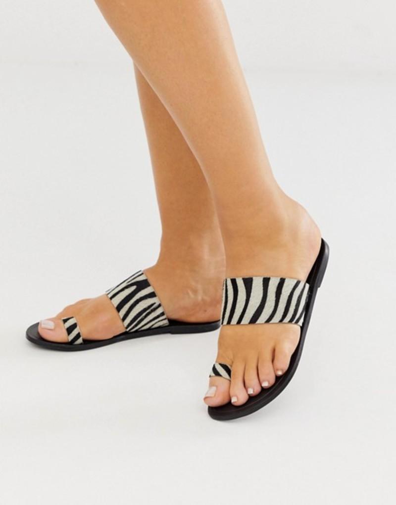 エイソス レディース サンダル シューズ ASOS DESIGN Faro leather toe loop flat sandals in zebra Zebra