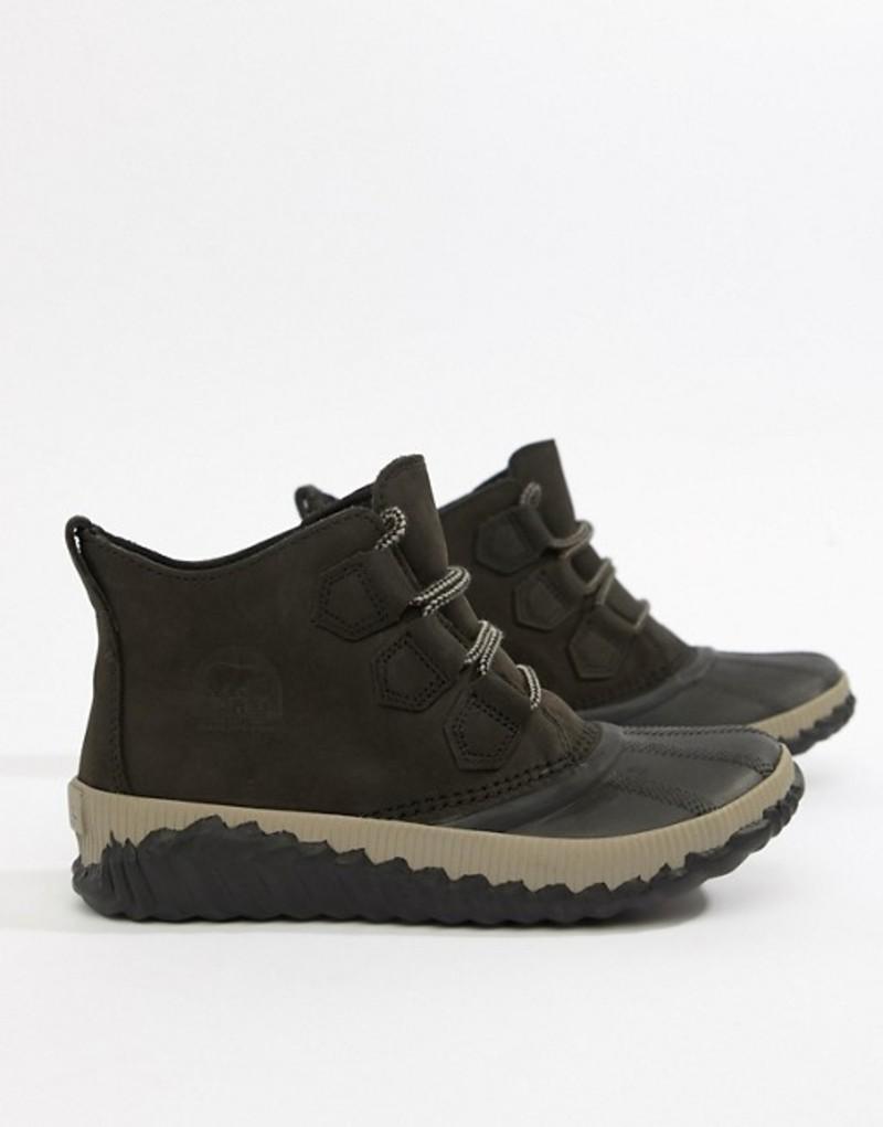ソレル レディース ブーツ・レインブーツ シューズ Sorel Out N About Black Plus Leather Boots Black