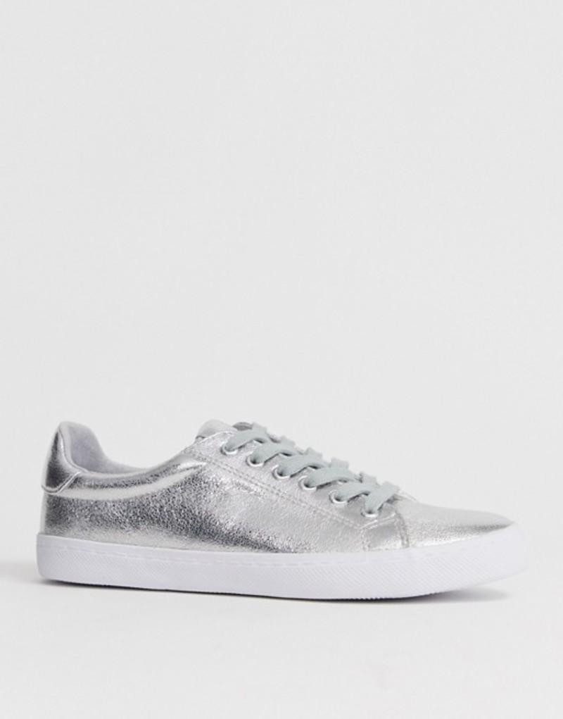 エイソス レディース スニーカー シューズ ASOS DESIGN Dustin lace up sneakers Silver
