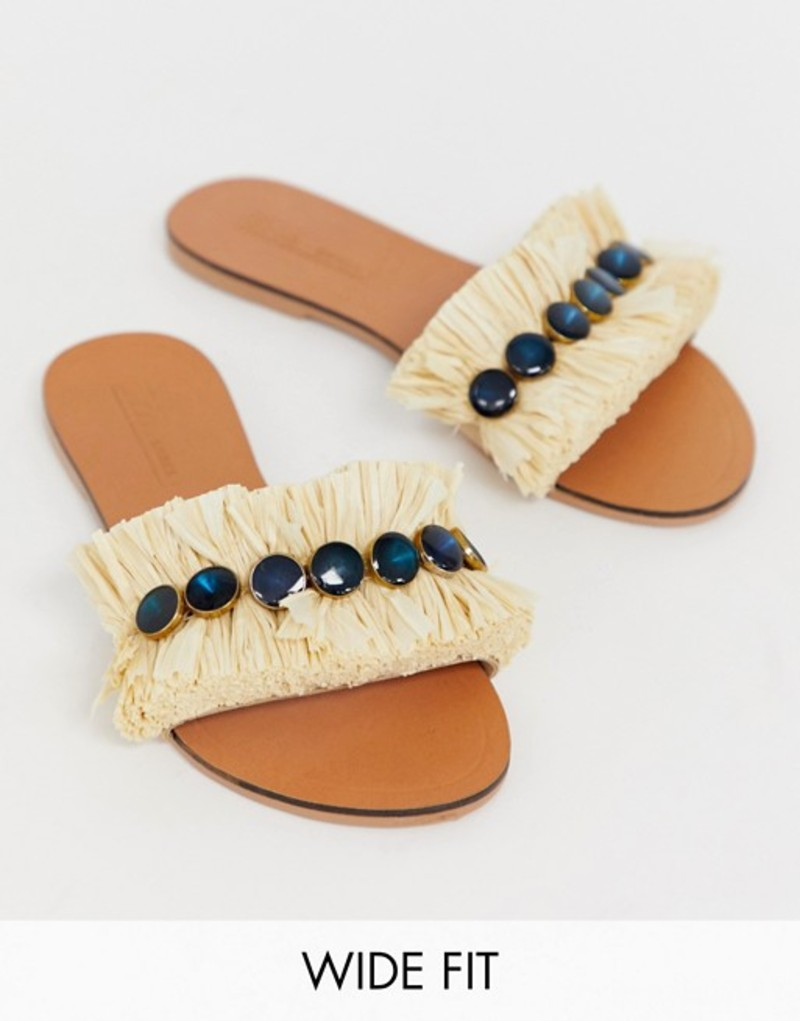 エイソス レディース サンダル シューズ ASOS DESIGN Wide Fit Free Spirit embellished slides Natural