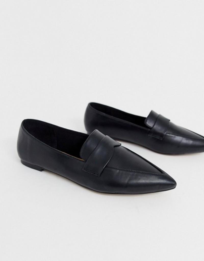 エイソス レディース パンプス シューズ ASOS DESIGN Limber pointed loafer ballet flats in black Black