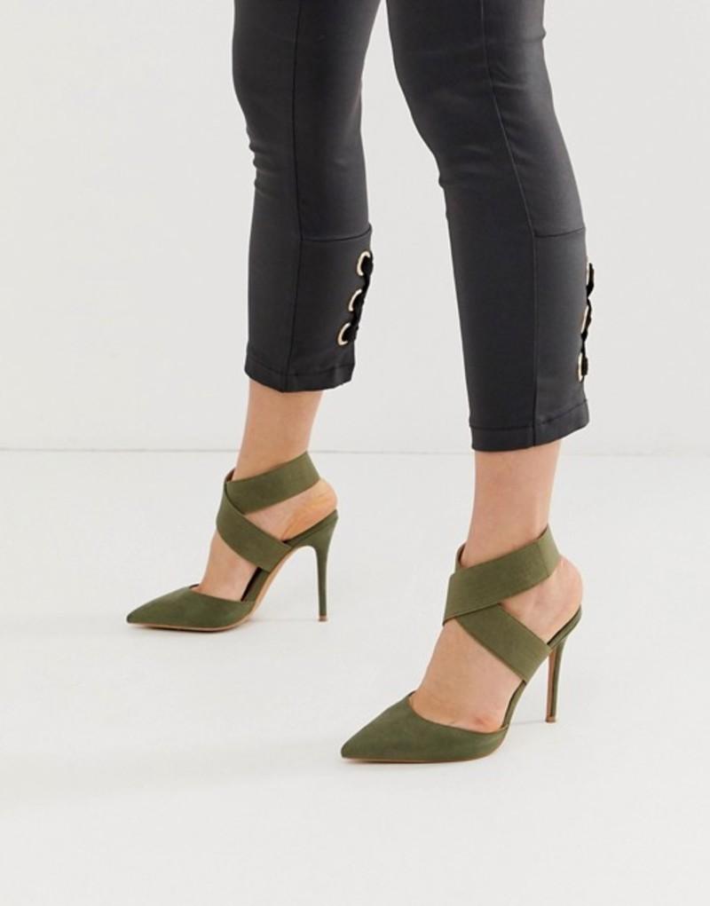 エイソス レディース ヒール シューズ ASOS DESIGN Payback elastic high heels in khaki Khaki