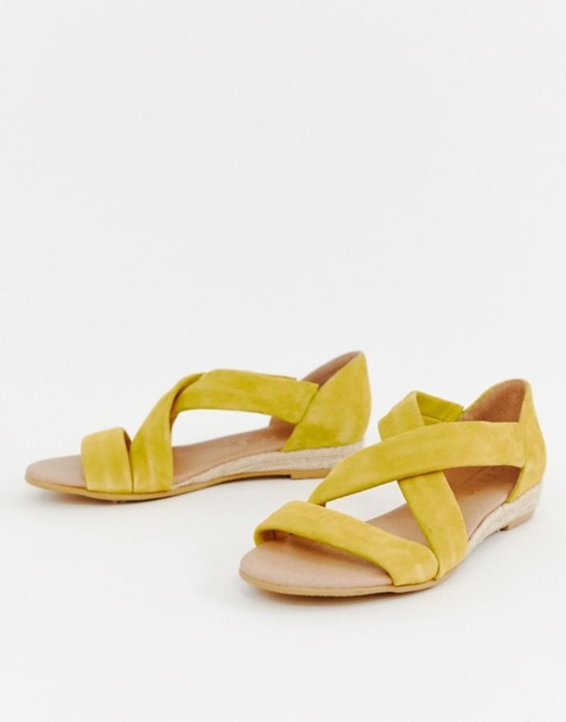 オフィス レディース サンダル シューズ Office Hallie bright yellow suede flat sandals Yellow suede