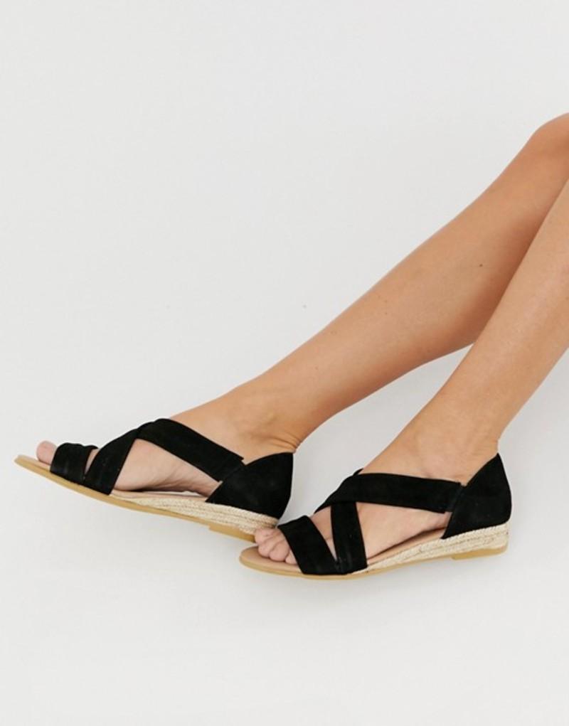 オフィス レディース サンダル シューズ Office Hallie black suede flat sandals Black suede