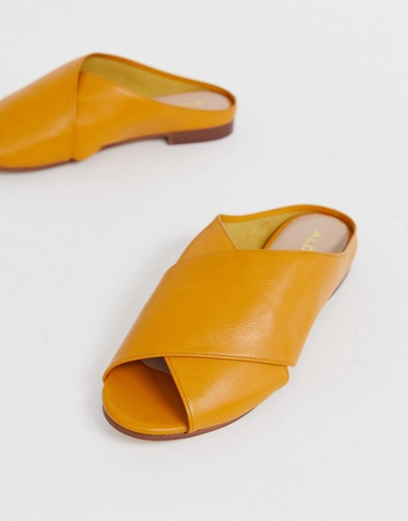 アルド レディース サンダル シューズ ALDO Rireviel leather cross strap sandals in mustard Mustard leather