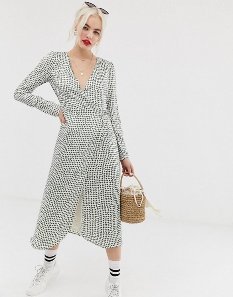 グラマラス レディース ワンピース トップス Glamorous midi wrap dress in olive print Cream