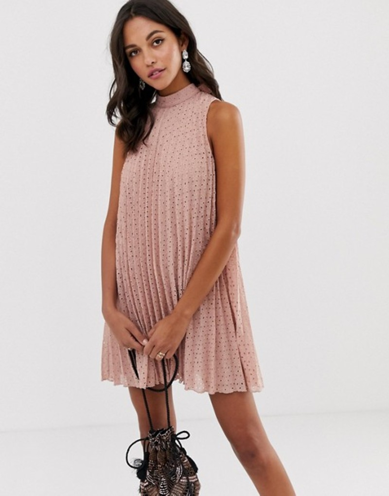 エイソス レディース ワンピース トップス ASOS DESIGN high neck pleated broderie mini swing dress Pink