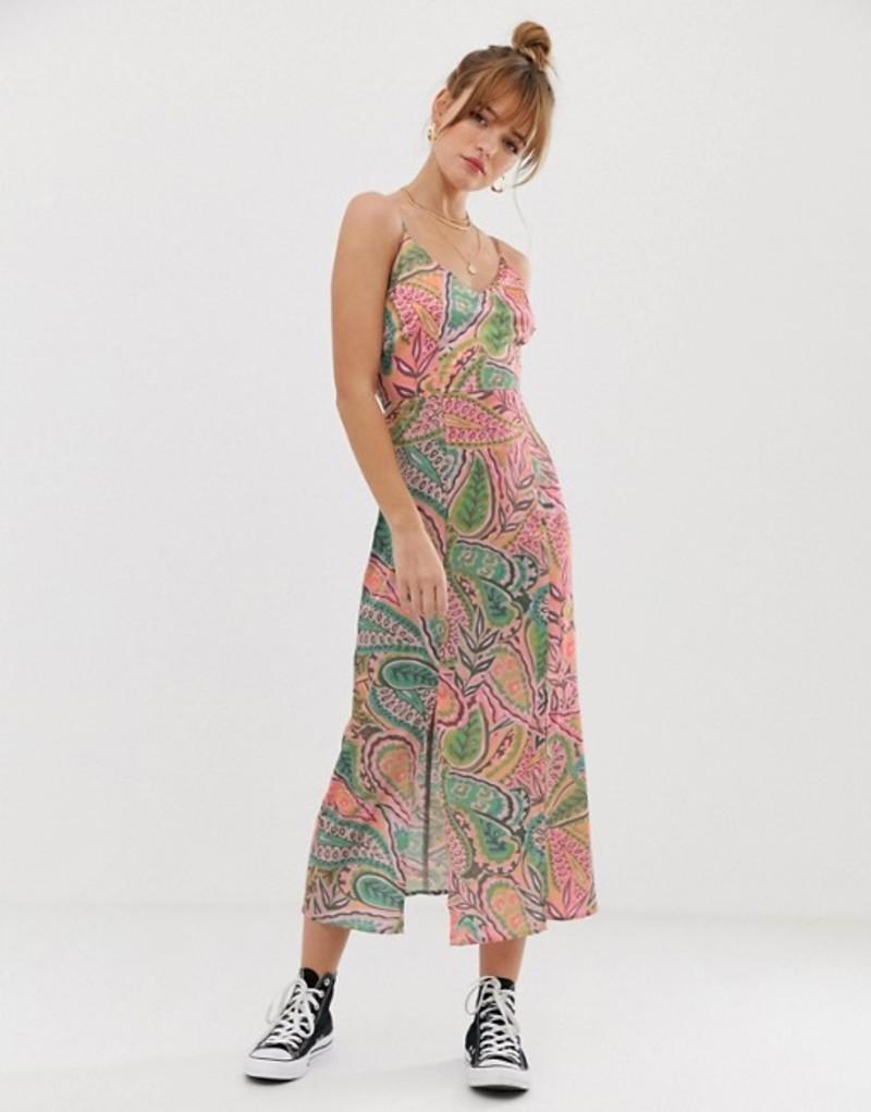 グラマラス レディース ワンピース トップス Glamorous cami midi dress in artwork jungle print Multi