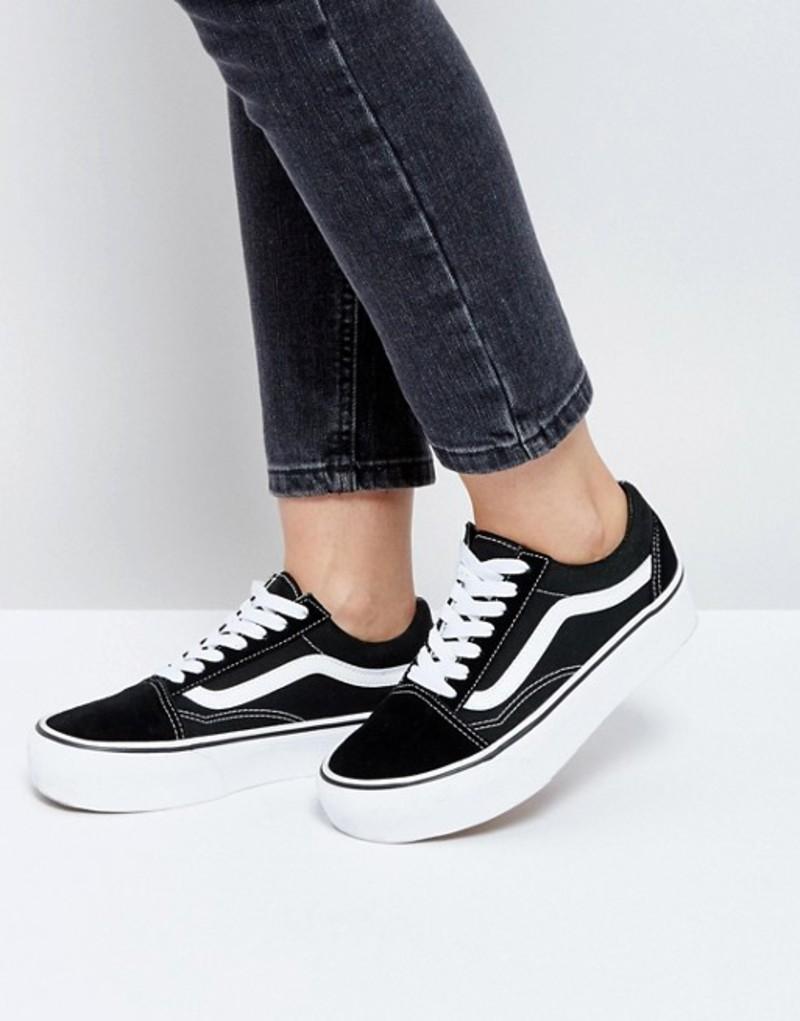バンズ レディース スニーカー シューズ Vans Old Skool black platform sneakers Black