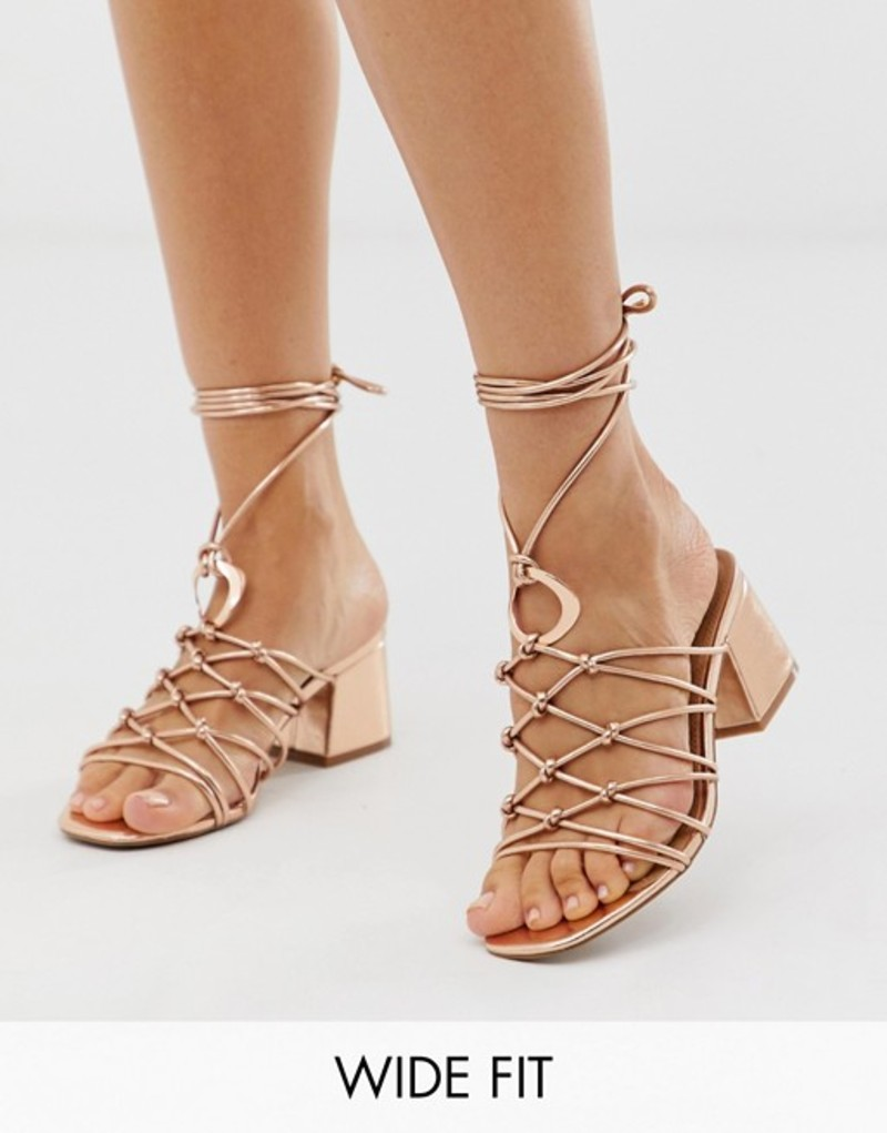 エイソス レディース サンダル シューズ ASOS DESIGN Wide Fit Harvey knotted ring detail block heeled sandals Rose gold