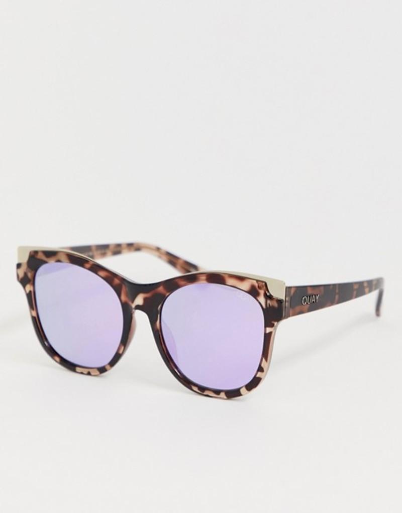 クアイオーストラリア メンズ サングラス・アイウェア アクセサリー Quay Australia its my way gold cat eye sunglasses in tort Brown